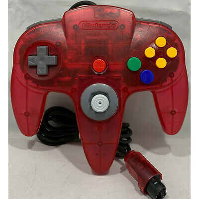 Genuine Nintendo 64 Controller Gamepad Watermelon / Clear Color Good Condition