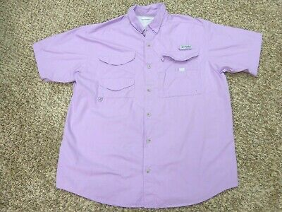 ea4901163be Mens Columbia PFG Purple Button Down Vented Short Sleeve Fishing Shirt Size  L