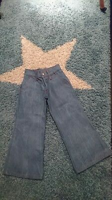Genuine Vintage 70s Boys Girls High Waisted Denim Flared Trousers Jeans