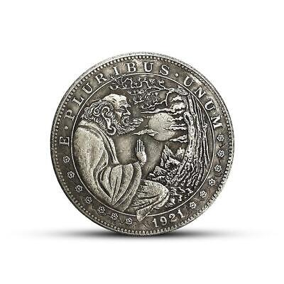 1921 Old Man Watching Moon Silver Commemorative Coin Gift