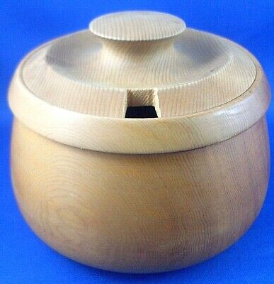 Handcrafted KR Tasmania Carved HUON PINE Wooden SUGAR BOWL WITH LID Collectable