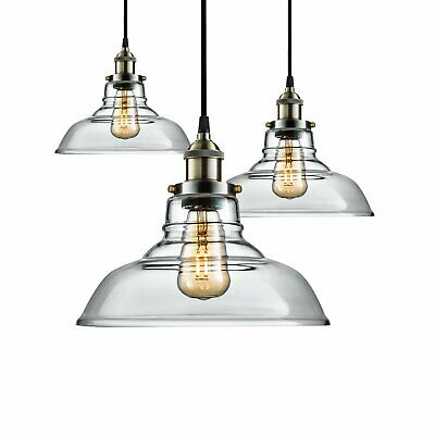 Kitchen Pendant Light Antique Industrial Clear Glass Shade Lamp Home Fitting E27