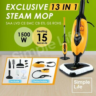 Maxkon 13in1 Foldable Steam Cleaner Mop Handheld Steamer Floor Carpet Cleaning