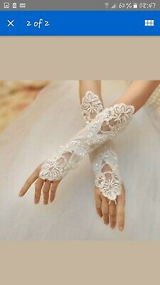 Gloves Lace - Ivory - Bridal Wedding Party Evening - Lace Sequin Satin - FROM UK