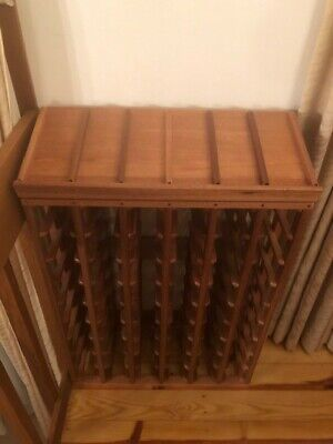 Rare 60 bottle varnished timber wine rack. Exceptional quality. New (never) used