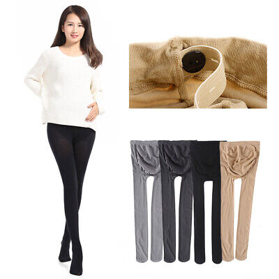 Womens Adjustable Maternity Pregnant Abdominal Tights Pantyhose Plus Size Solid