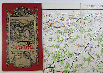 old vintage 1929 OS Ordnance Survey one-inch Popular Edition Map 123 Winchester
