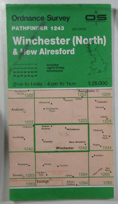 1988 Old OS Ordnance Survey 1:25000 Pathfinder Map 1243 Winchester (N) SU 43/53