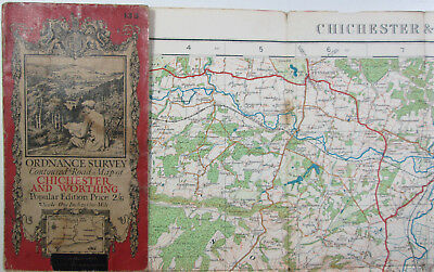 1920 old OS Ordnance Survey one-inch Popular Edition Map 133 Chichester Worthing