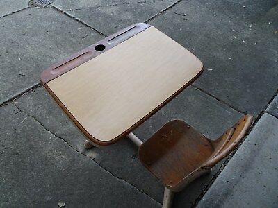Antique childrens school desk with connected chair