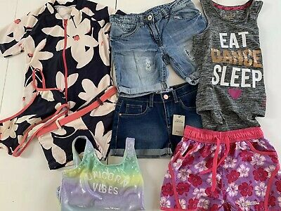 Bundle Girls Summer Clothes Age 9-10 Yrs Denim Shorts Swimming Costume Next H&M
