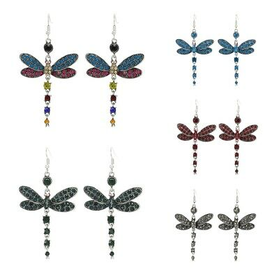 Gorgeous Colors Dragonfly Crystal Rhinestone Dangle Drop Silver Plated Earrings