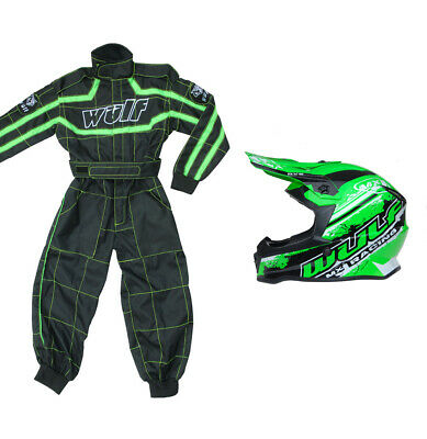 Kids Wulfsport Wulf MX Quad Childrens Motocross Overall Helmet Green Set #XO7