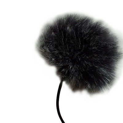 Black Fur Windscreen Windshield Wind Muff For Lapel Lavalier Microphone Deco