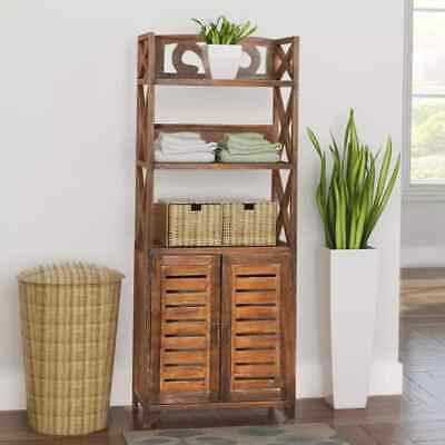 Vintage Wood Bathroom Cabinet Cupboard Storage Toilet Unit Wash Cabinet