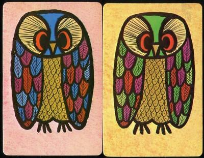 Owls Pink And Yellow Swap/Playing Cards X2 Very Beautiful (Brand New)