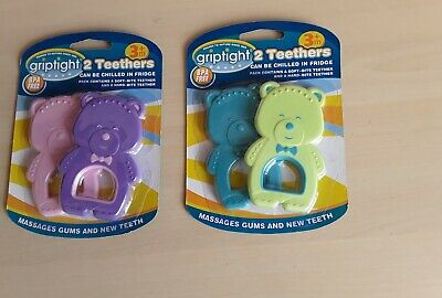 2 Pack Teddy Baby Teethers Soft & Hard Bite New Teeth Massages Gums Cold Soothe