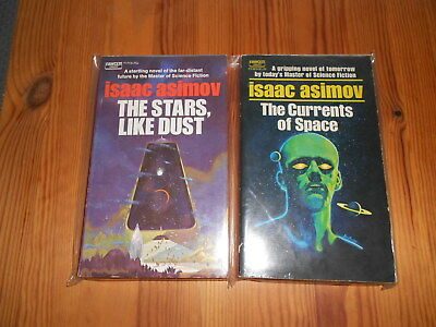 5 vintage 1970s Isaac Asimov Paperbacks from Fawcett Crest with Paul Lehr covers