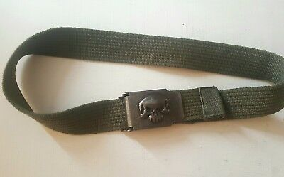 BOYS**SKULL BELT**KHAKI GREEN**71cm UNUSED**EXC CON*