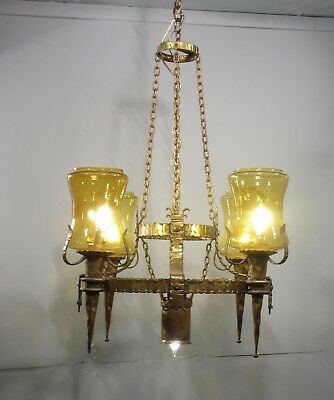 Antique Vintage  Chandelier Gothic Ring Amber Glass Torch Shades Original