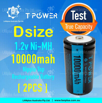 2x Naccon 1.2V D size 10000mah Ni-MH Rechargeable Battery NIMH Cell batteries