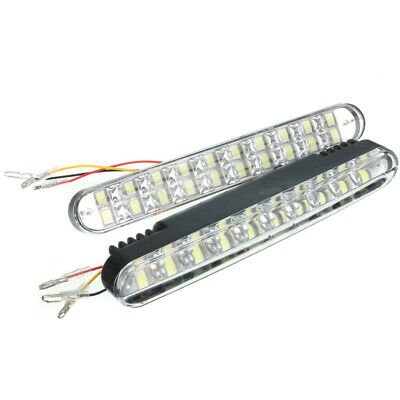 2pz 20SMD 5050 White 10SMD 3528 Yellow LED Auto Luci Diurne DRL With