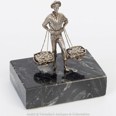 Vintage Solid Silver Statuette of SPANISH FISHERMAN Traditional Spain Sculpture