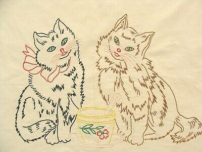 Vintage CATS Kittens CUSHION COVER Hand embroidered KITSCH Cotton White