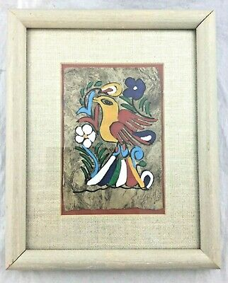 Original Mexico Folk Art Bark Colorful Bird Painting Picture Framed Matted 8x10