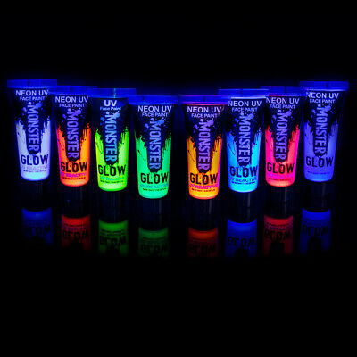 Monsterglow Neon uv face paint for Face and Body Paint Set of 8 12 ml Tubes