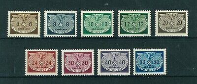 Germany 1940 WWII Occupation in Poland Official stamps. Mint. Sg O407-O415.