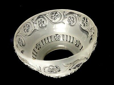 Victorian Gas Shade, Clear and Frost, Floral Design, Also For Oil Stem Lamp
