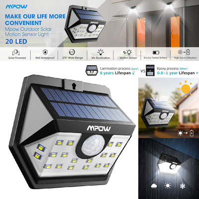 Mpow 20 LED Solar Lights Waterproof Motion Sensor Outdoor Security Lighting Lamp