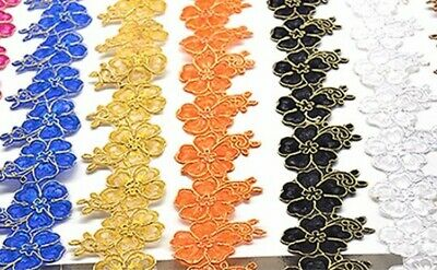 1 yard 70mm embroidered flower lace tape trim iron on patch sewing crafts