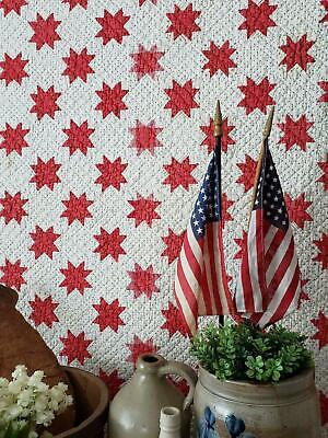 "3"" Stars! Patriotic & Stunning Small Scale Antique Red & White Star QUILT c1880s"