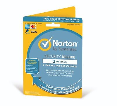 Norton Security Deluxe 2019 3 Multi Devices 1 Year - Fast Delivery by Post - EU