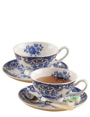 Victorian Trading Co Set of 2 Blue Willow w/ Roses Bone China Teacups & Saucers