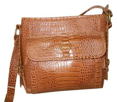 Leather Croco Handbag Sophie Organizer Crossbody Messenger Coldwater Creek Brown