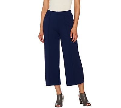580119bf83e9a H by Halston Ponte Knit Wide Leg Pull-On Crop Pants Color Midnight, Size
