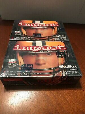 2 Boxes of 1995 Skybox Impact Football Factory Sealed Jumbo Boxes 24 Packs Per