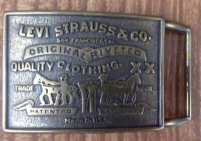 VINTAGE 1970s LEVI STRAUSS & CO. CLOTHING ADVERTISEMENT BELT BUCKLE