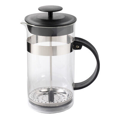 ProCook 3 Cup / 350ml Glass & Stainless Steel Cafetiere with Black Lid & Handle