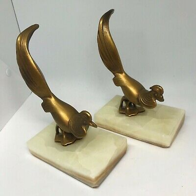 VINTAGE Pair Brass Pheasant Bird Bookends on Marble Stand  Art Deco Look