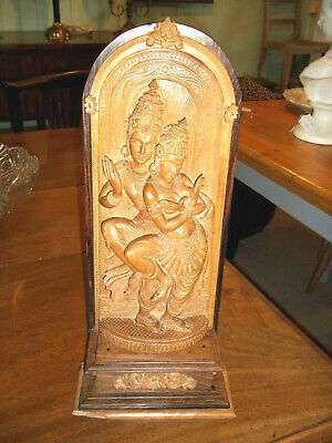 Rare Antique Large Carved Wood Asian Lady Dancers  Figure Indian Ladies