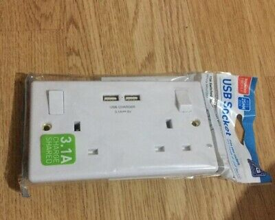 BG 322U3w White 13 Amp 2 Gang Switched Plug Socket with 2 USB Sockets 3.1A