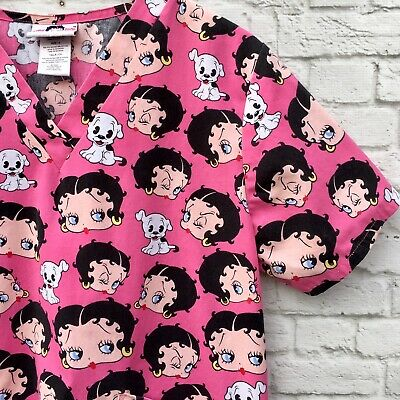 6864494874f Betty Boop Scrub Top Size Small Pudgy Dog Pink Medical Dental Cartoon Wink