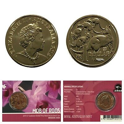 2019 Australian Cooktown Orchid' Privy Mark $1 Coin Complete with Quadram Holder
