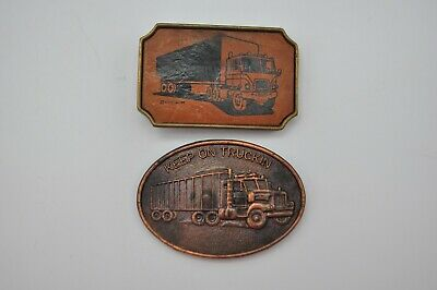 Vintage Truck Driver Semi Trucking Belt Buckle Lot X2 Dodson Metal Brass Trucker