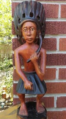 Vintage Folk Art WOOD CARVING Indian Chief MEXICAN or African? 17 5/8 in. tall