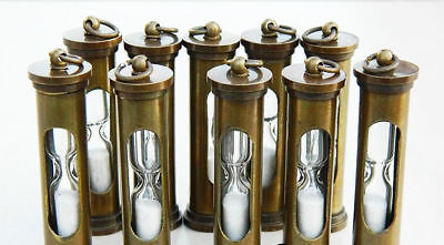 Brass Hourglass Sand Timer ~ Nautical Maritime ~Keyring 10 pcs